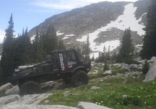 Unimog 1700 BAM BAM at the top 4x4 Holy Cross Trail, mountain views