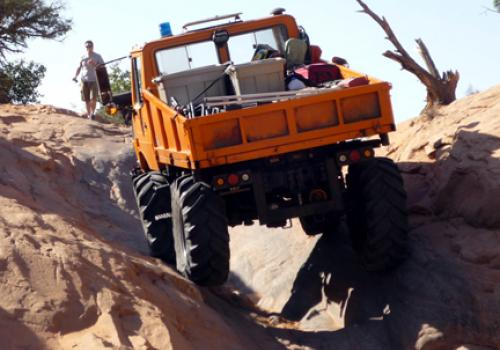 Unimog 1250 on a trail in Moab