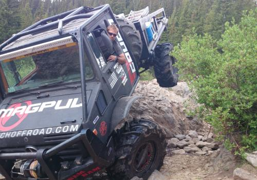 Unimog 1700 getting tippy 4x4 rock crawling Holy Cross